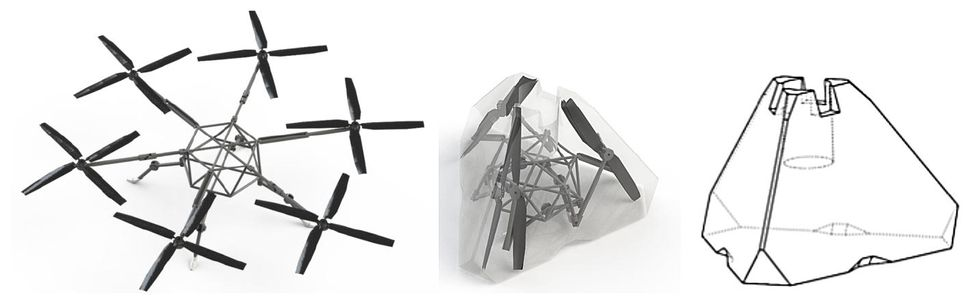 Three renderings showing how the hexacopter's arms collapse inward and fold up to fit inside of an aeroshell.