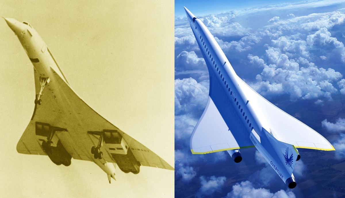A side by side comparison of the Concorde and Overture airliners.
