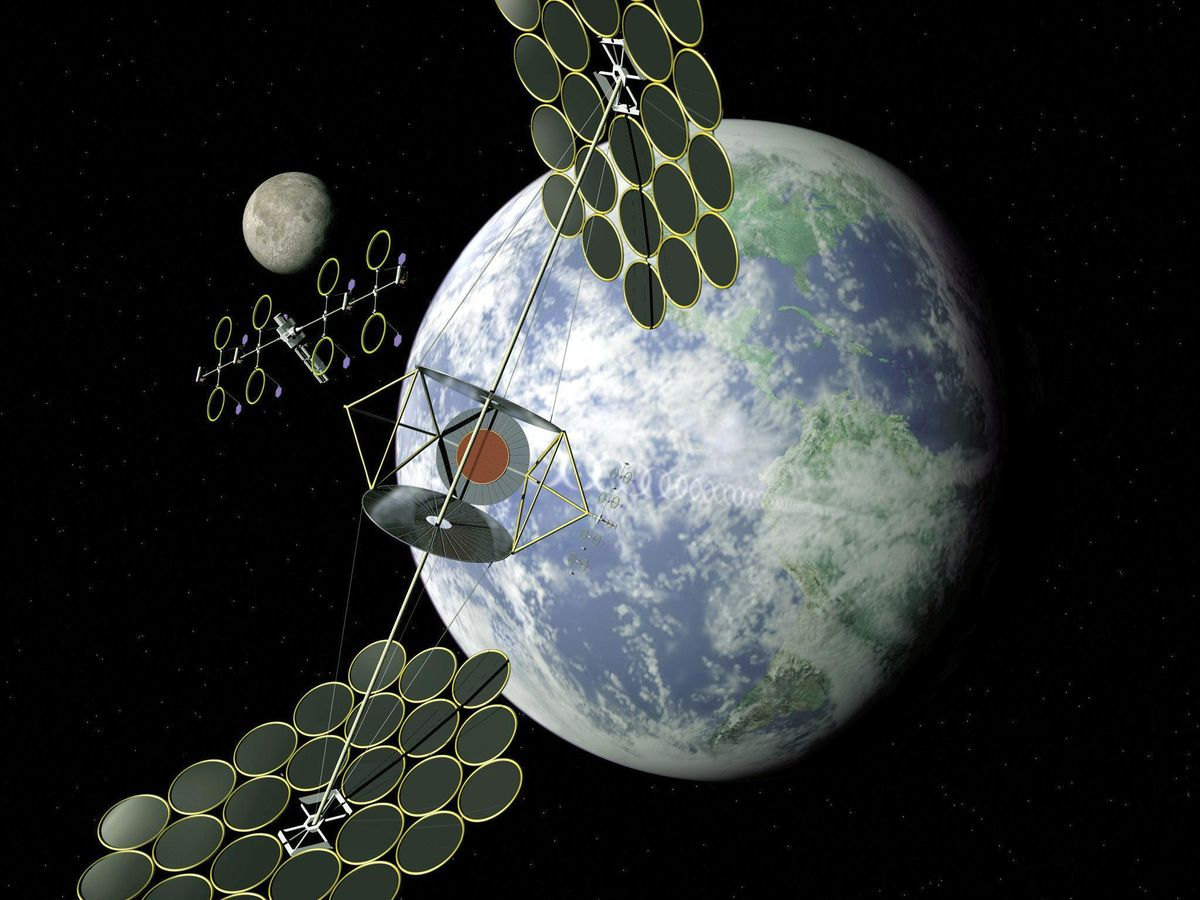 artist concept from 1999 of a solar power station in orbit.