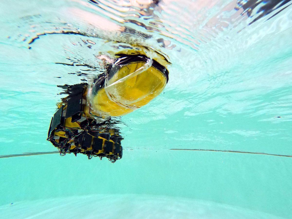 Underwater robot navigating through a pool.