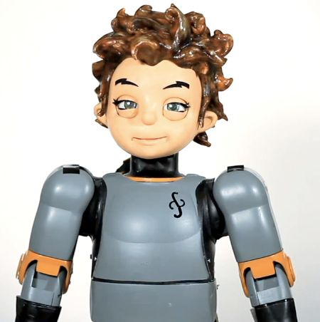 Robokind Zeno, a small walking humanoid with an expressive face created by Hanson Robotics.