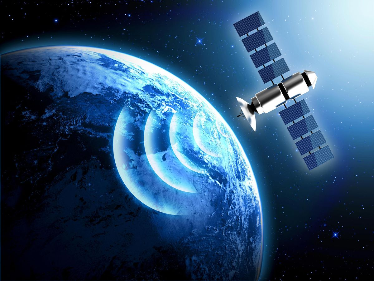 satellite in outer space sending signal down to Earth