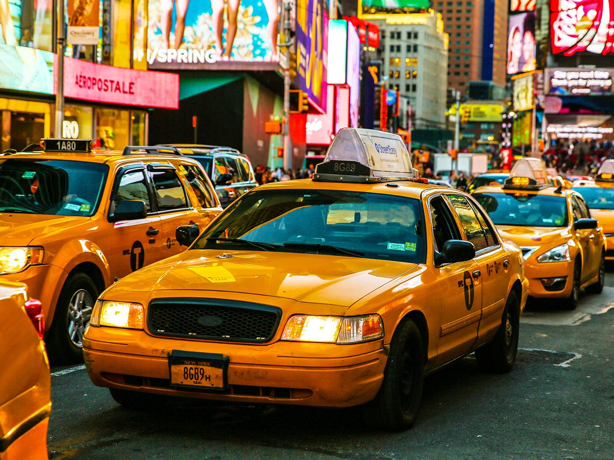 Taxis in New York.
