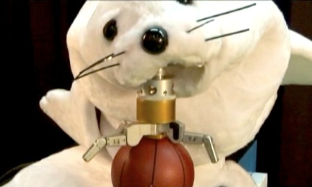 robot seal plays basketball