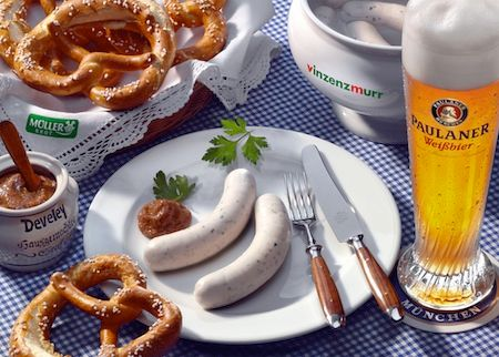 A typical Bavarian Sausage Breakfast