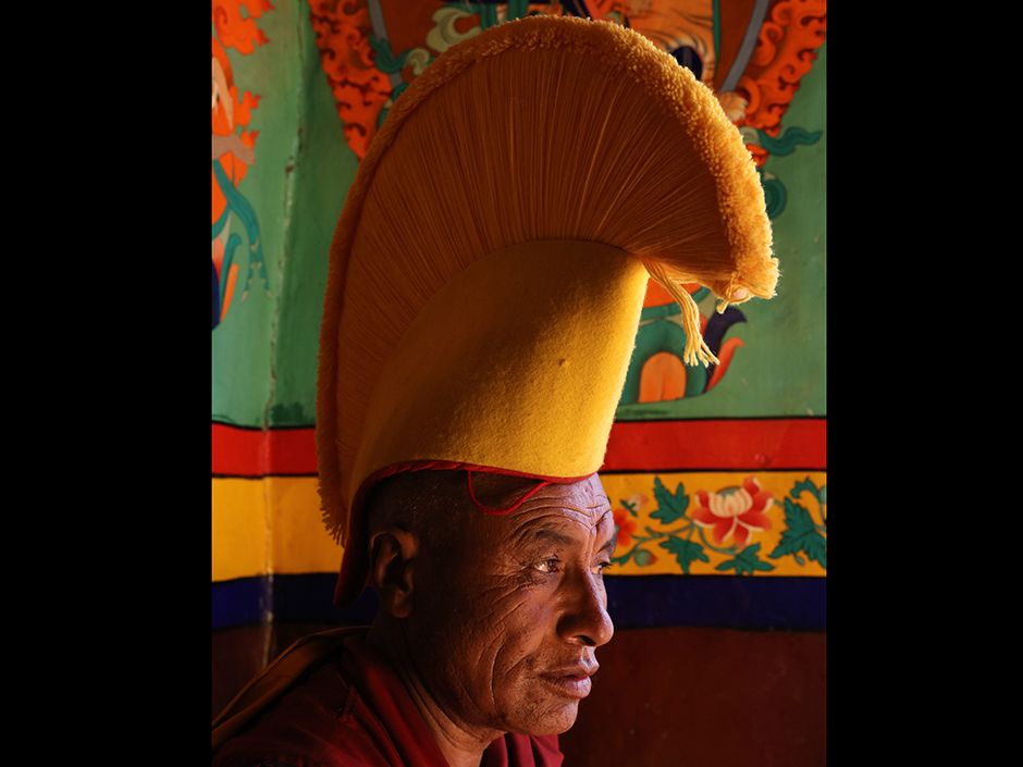 "Lingshed monastery is part of the Gelug, or ""yellow hat,"" sect of Tibetan Buddhism."
