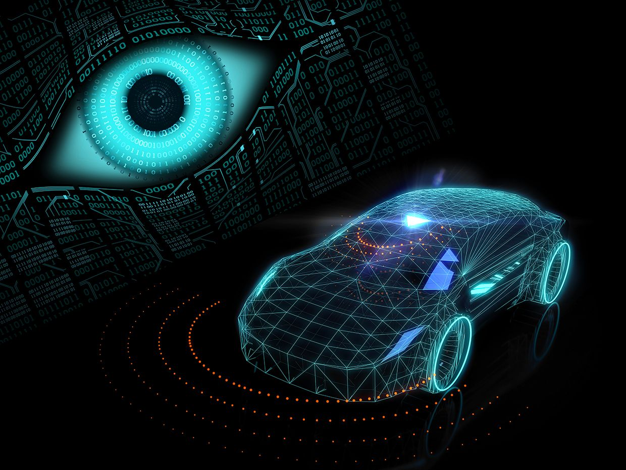 Illustration of an eye with code, looking at an autonomous car below