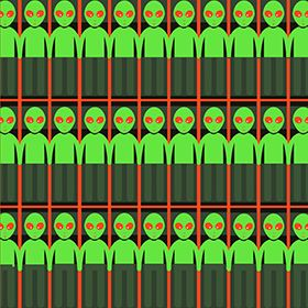 An illustration of little green men with red eyes standing in rows.