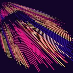 An illustration shows brightly colored lines cascading from the left to the right of the image.