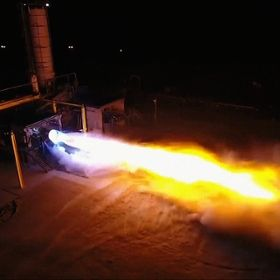 Blue Origin's BE-4 engine performing a static firing at the company's West Texas test facility.
