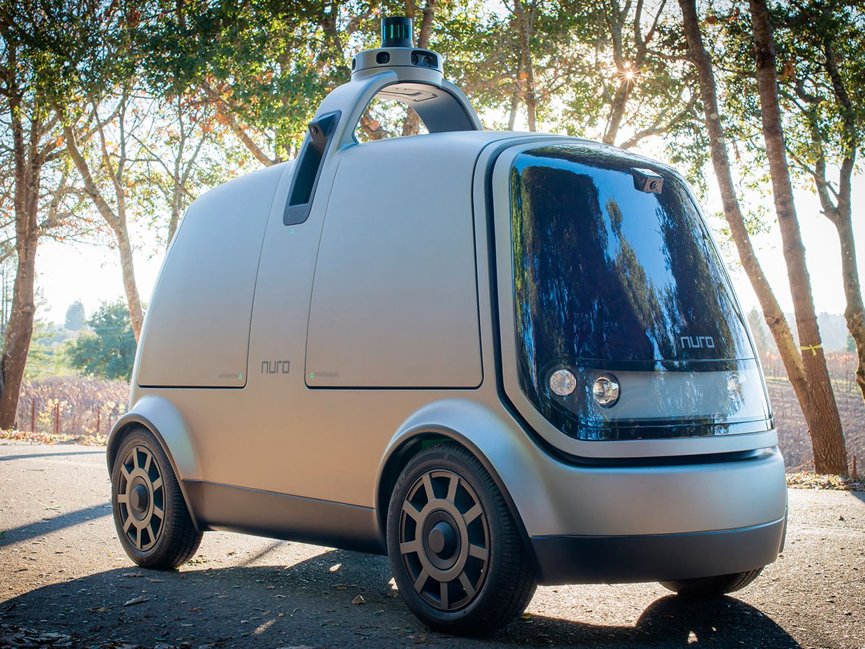 Photograph of Nuro's self-driving delivery vehicle.