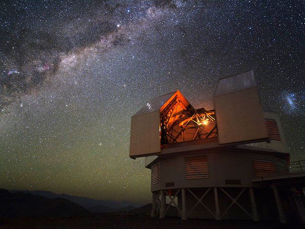 <b>Twin Observers:</b> The 6.5-meter Magellan telescopes stand 60 meters apart at the Las Campanas Observatory in Chile, and enjoy some of the best viewing conditions of any Earth-bound telescope.