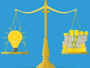 illustration of scale with light bulb balanced against dollar signs