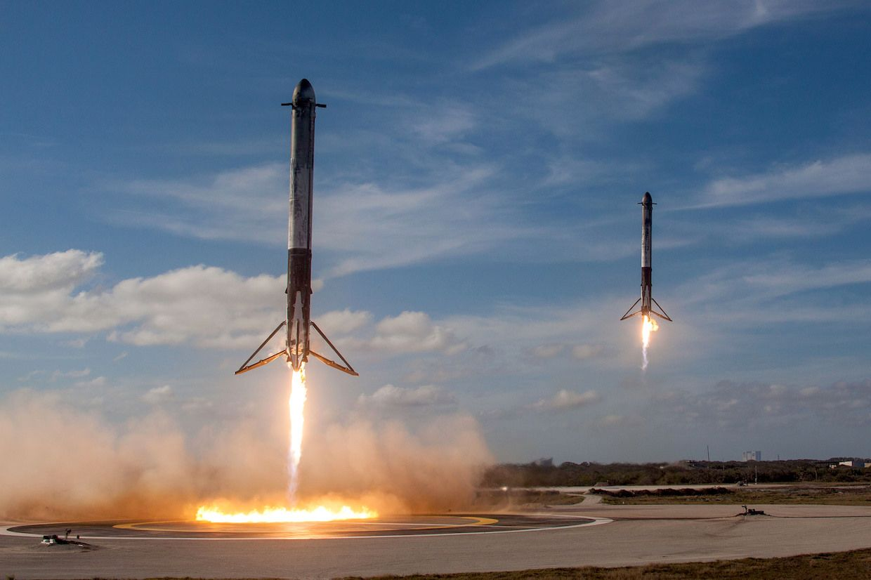 SpaceX's double booster rocket landing