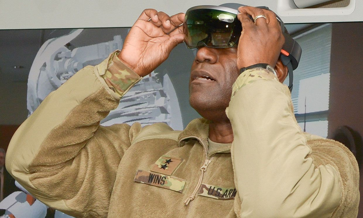 December 30, 2016 photo showing RDECOM Commander Maj. Gen. Cedric T. Wins wearing the Hololens from Microsoft.