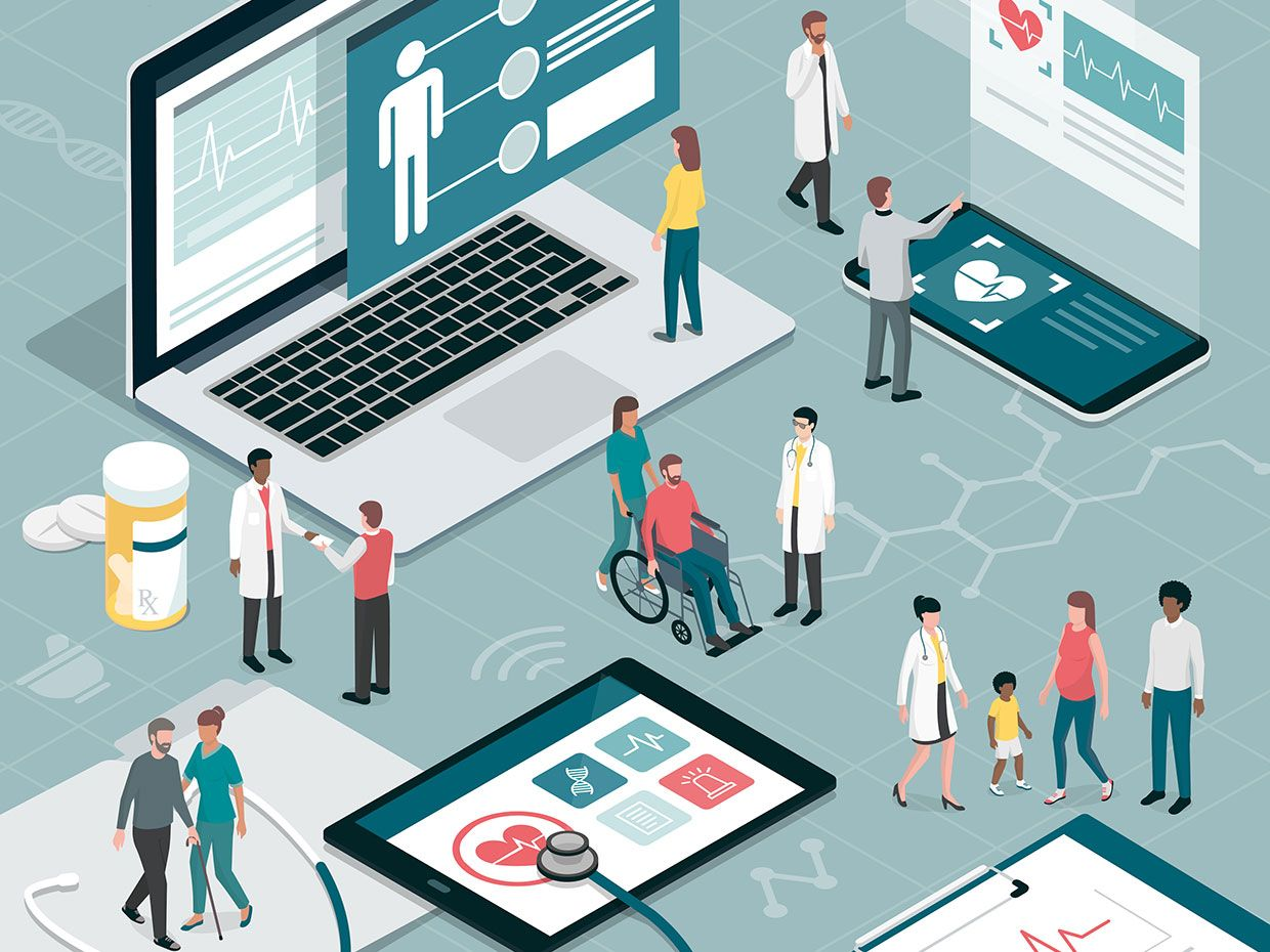 an illustration depicts doctors, nurses, and patients walking through a  collection of giant laptop