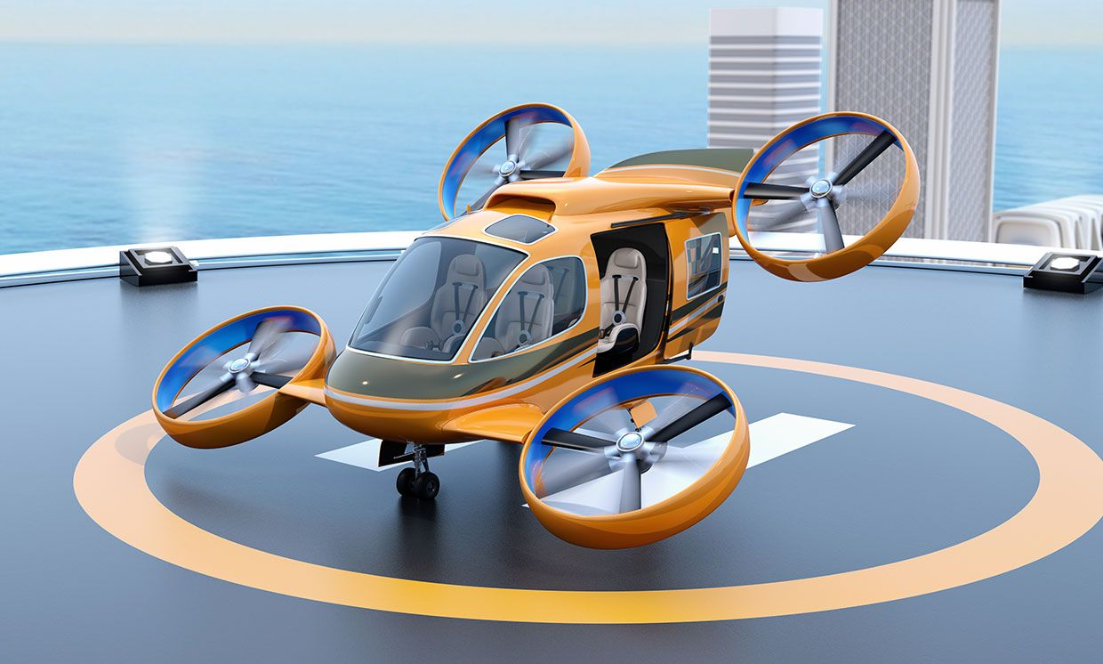 Conceptual illustration of an air taxi on a landing pad.