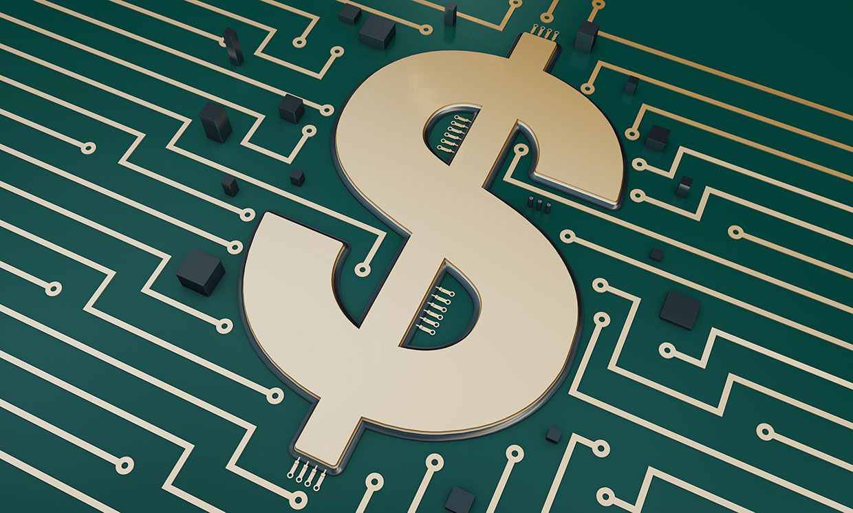 Illustration of a dollar sign on a circuit board