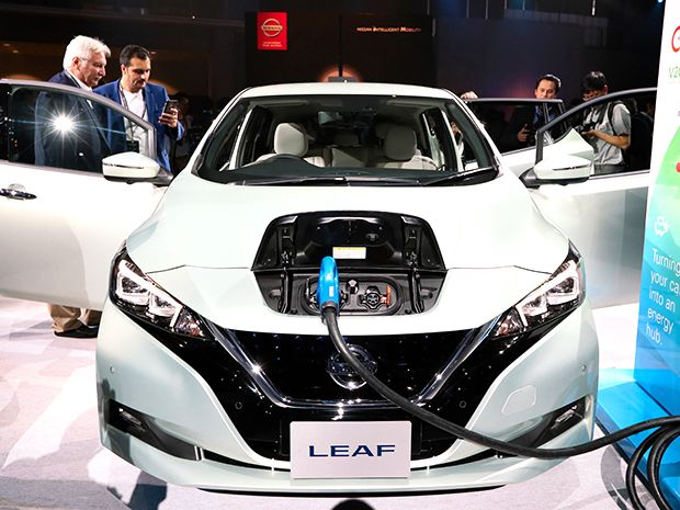 Nissan Motor Co's revamped Leaf electric vehicle is displayed at the Makuhari Messe on September 6, 2017 in Chiba, Japan