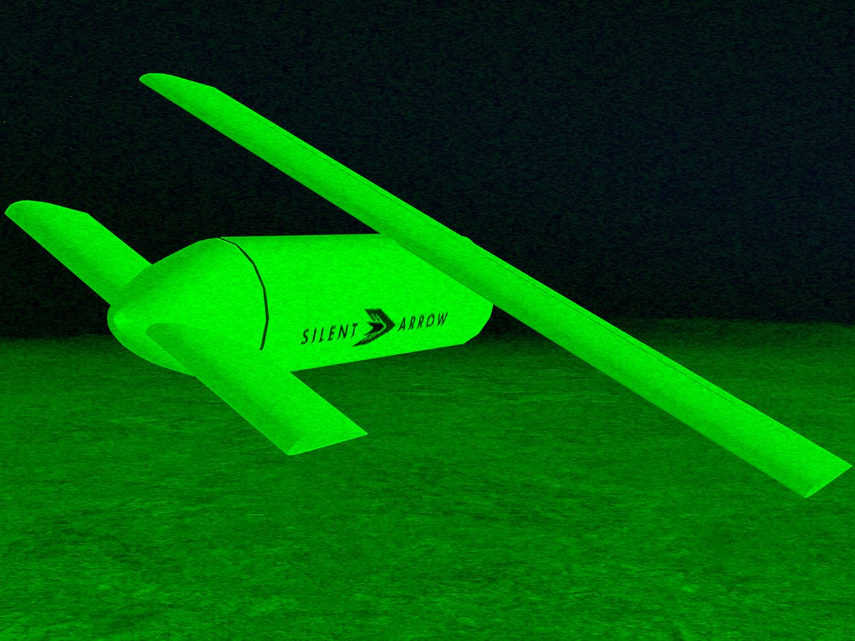 "Yates Electrospace Corporation's ""Silent Arrow"" glider drones resembles a sleek missile with extendable wings."
