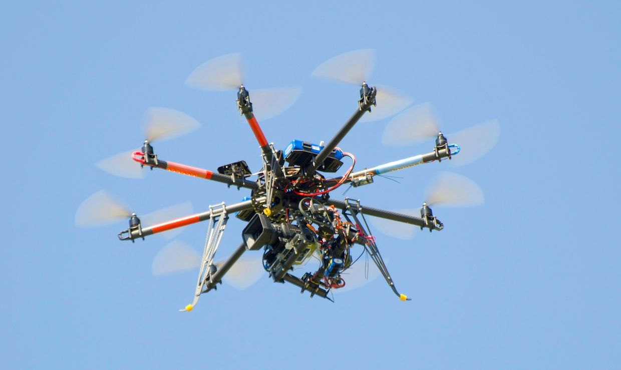 Camera drone flying