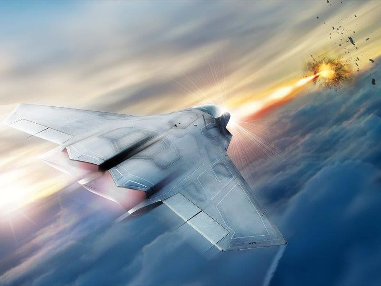 Illustration showing a tactical fighter jet with a high energy laser weapon system blasting something in the distance.