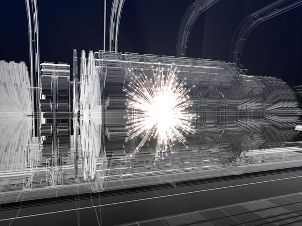 Artistic impression of a collision event at the center of a future detector.