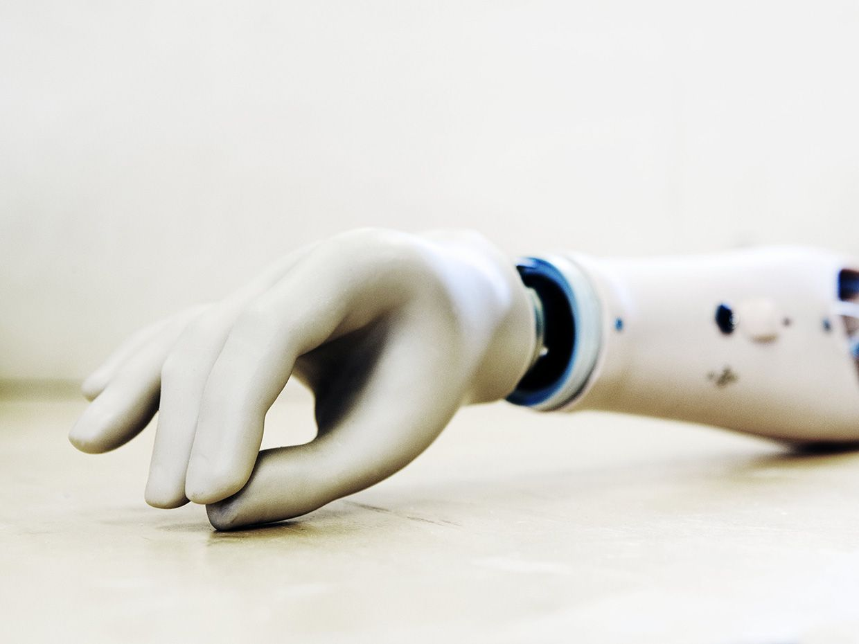 Close-up of a prosthetic hand