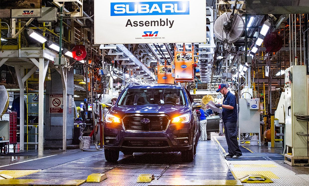 2019 Ascents roll off the assembly line at Subaru of Indiana Automotive (SIA) in Lafayette, Indiana on May 7, 2018.
