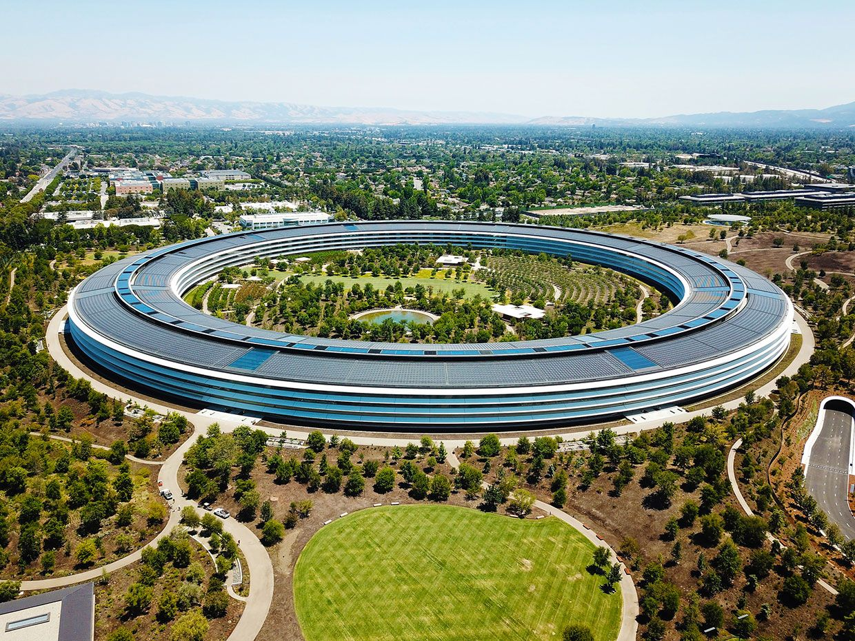 An aerial photo shows Apple's headquarters in California.