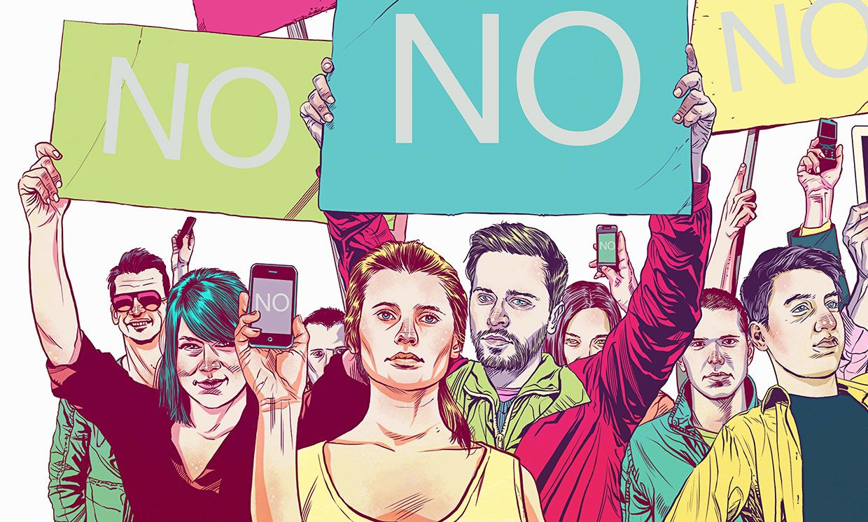 Illustration of a group of people with protest signs and mobile devices