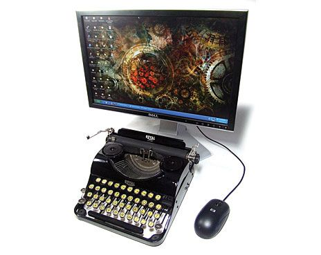 royal typewriter with PC