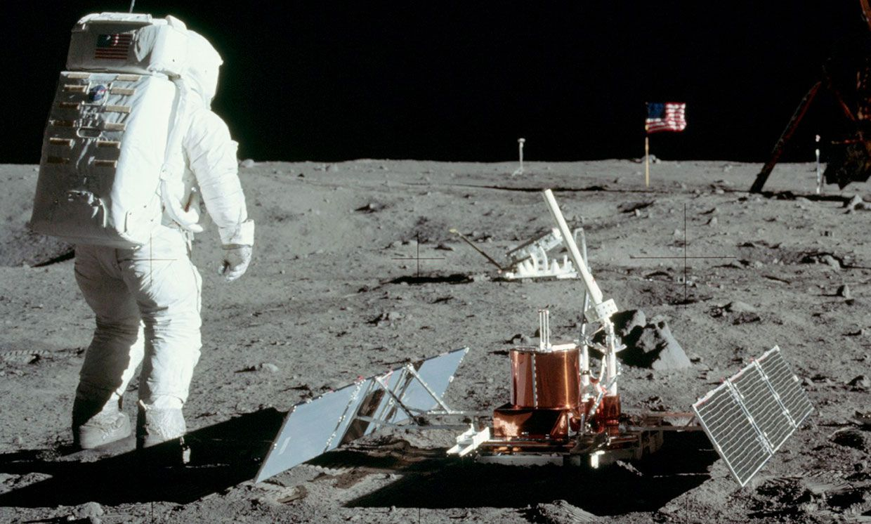 Apollo 11 astronaut Buzz Aldrin with the seismic experiment.