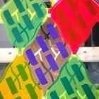 Leaf-shaped, colorful photovoltaic modules with solar concentrators