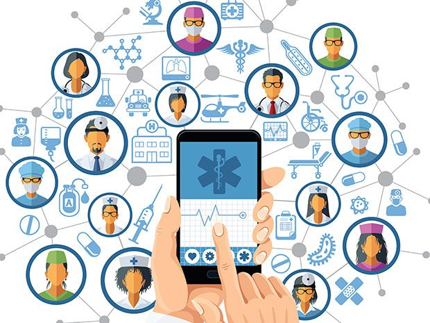 A cartoon of a smartphone with a caduceus on the screen surrounded by the heads of various types of medical personell