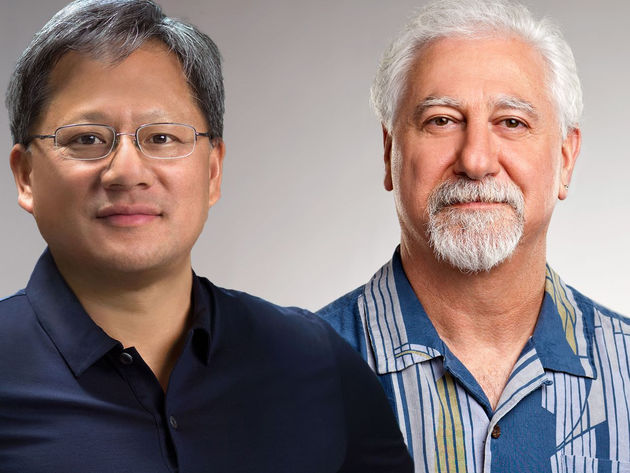 Composite photographs of Nvidia CEO Jensen Huang and co-founder Chris Malachowsky.