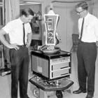 SRI researchers Nils Nilsson (right) and Sven Wahlstrom with Shakey the Robot in the late 1960s.