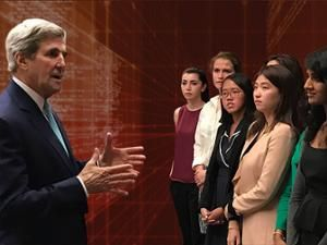 Students from Stanford's first Hacking for Diplomacy class meet with U.S. Secretary of State John Kerry