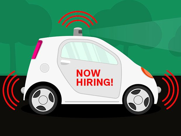 "A cartoon of a self-driving car with a ""Now Hiring"" sign shows the autonomous vehicle industry is looking for software engineers"