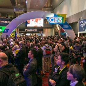 Photo showing people at the Las Vegas Convention Center and Venetian Hotel for the annual Consumer Electronics Show