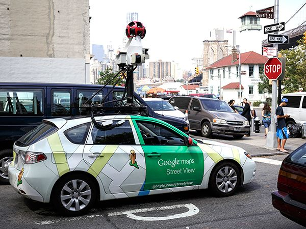 A Google Maps Street View car going through the DUMBO neighborhood in Brooklyn, NY.