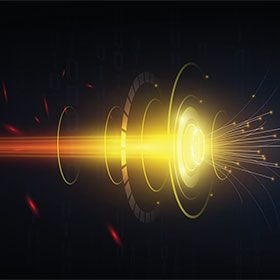 Conceptual image of speedy fiber optic transmission.