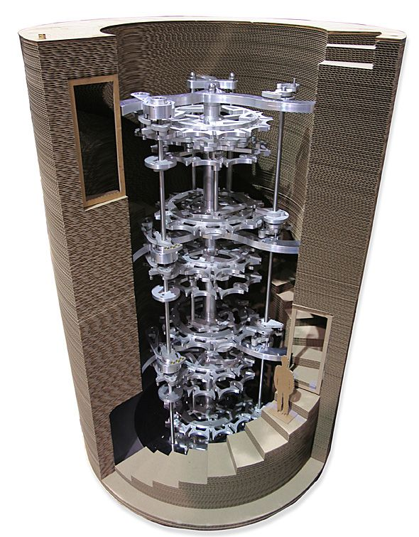 tall vertical chamber that houses clock