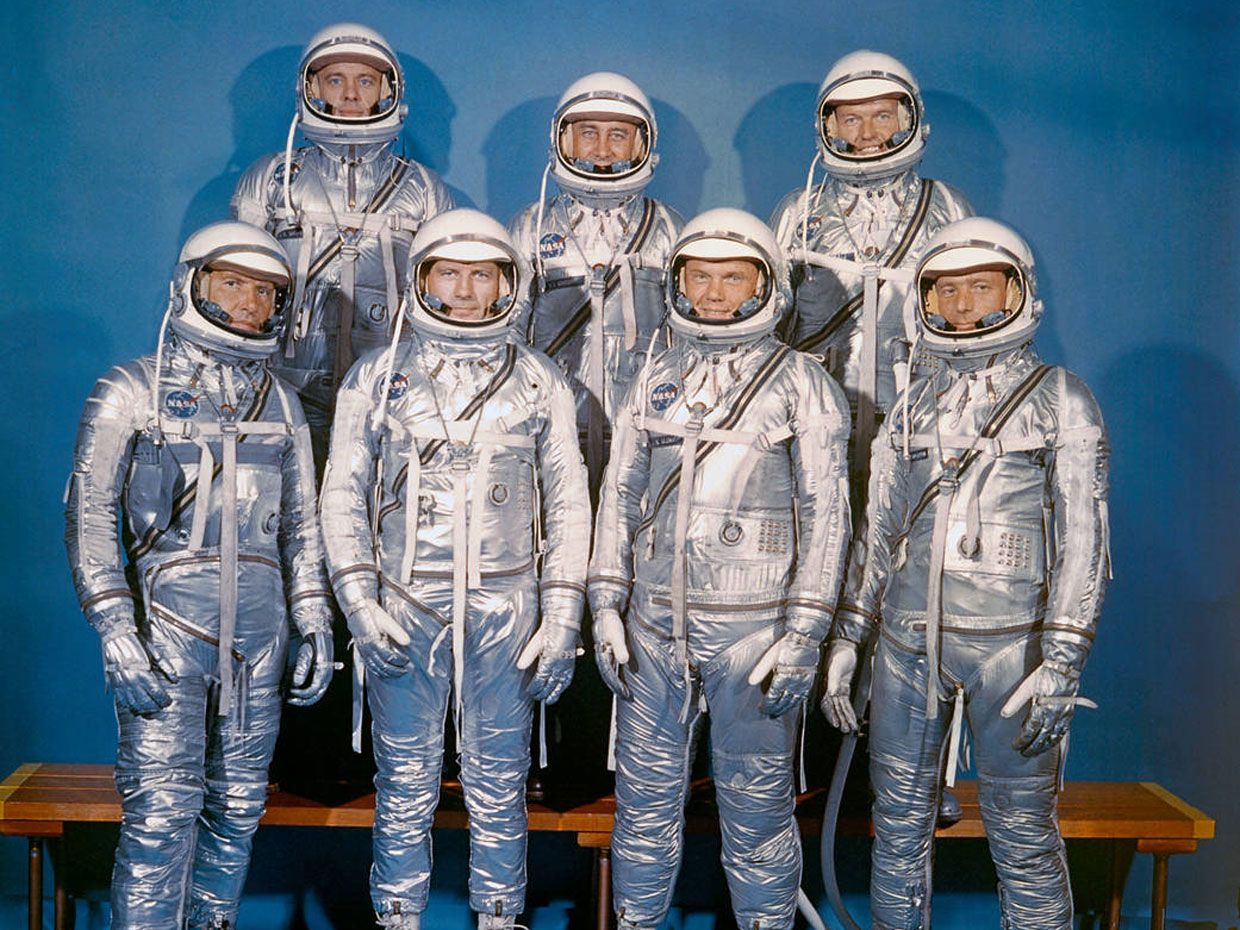 On 9 April 1959, NASA introduced its first astronaut class, known as the Mercury 7. Front row, from left: Walter M. Schirra Jr., Donald K. Slayton, John Glenn, and M. Scott Carpenter. Second row, from left: Alan Shepard, Virgil Grissom, and L. Gordon Cooper Jr.