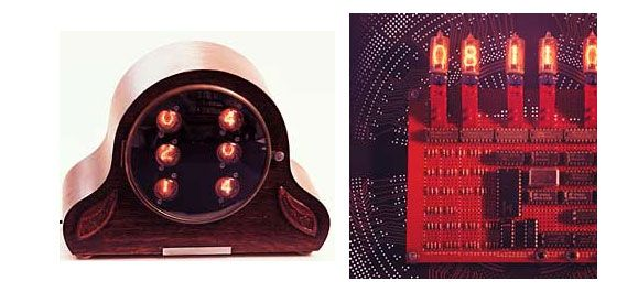photo of a test board clock and mantel clock