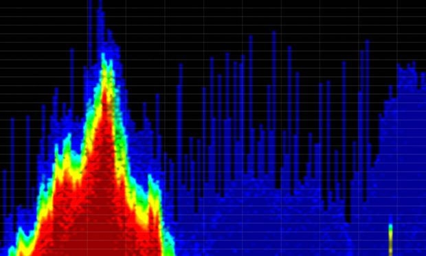 Image showing interfering emanations from wireless audiovisual transmitters.