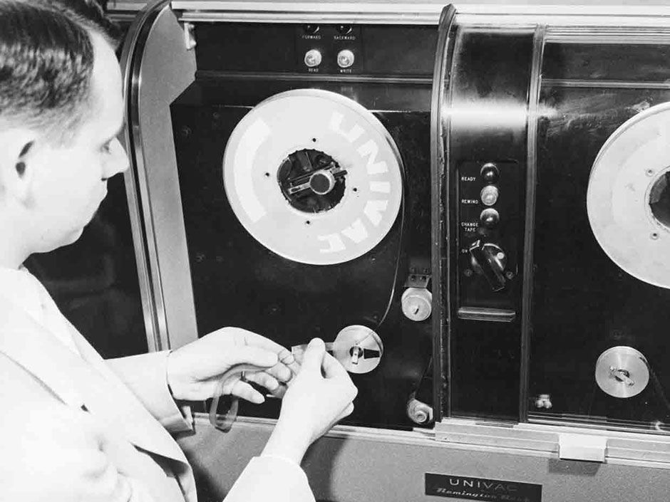 <b>1951:</b> Magnetic tape first used to record data on a computer (Univac).