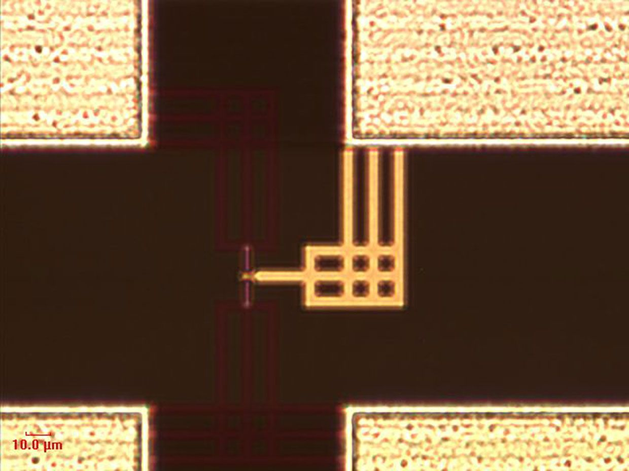 Micrograph that shows a SOT-MRAM unit created on a standard 300mm silicon wafer.