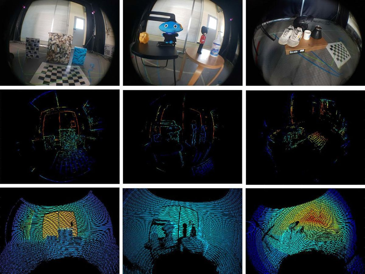 Fish eye view of camera real scenes compared with semi-dense depth map and LiDAR measurements.