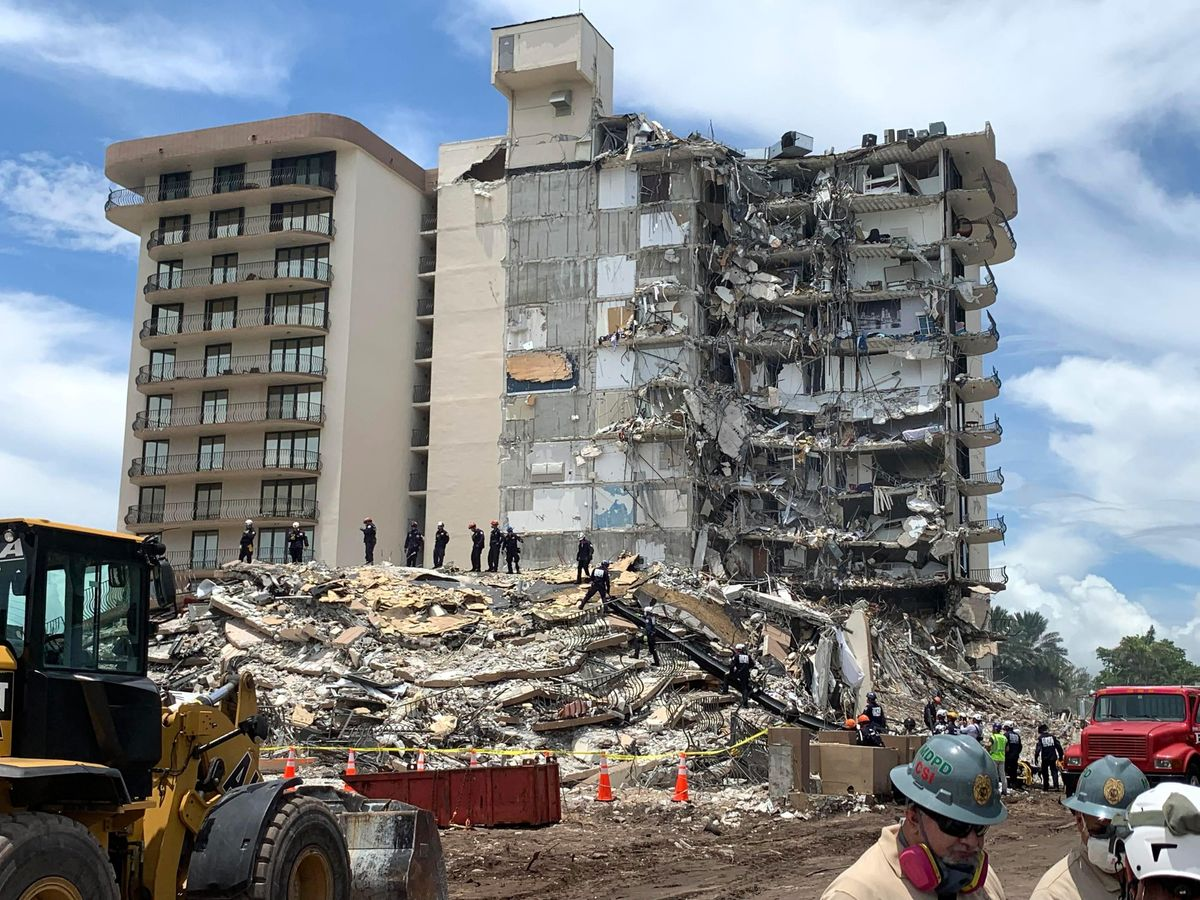 The site of the Champlain Towers South partial collapse in Surfside, Florida.